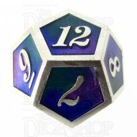 TDSO Metal Script Silver & Blue Green Purple D12 Dice