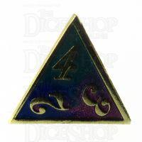 TDSO Metal Script Gold & Blue Green Purple D4 Dice