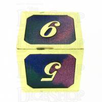 TDSO Metal Script Gold & Blue Green Purple D6 Dice