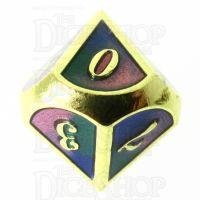 TDSO Metal Script Gold & Blue Green Purple D10 Dice