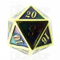 TDSO Metal Script Gold & Blue Green Purple D20 Dice
