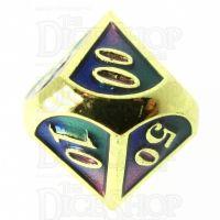 TDSO Metal Script Gold & Blue Green Purple Percentile Dice