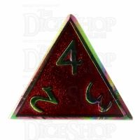 TDSO Metal Script Iridescent & Red D4 Dice