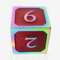 TDSO Metal Script Iridescent & Red D6 Dice