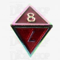TDSO Metal Script Iridescent & Red D8 Dice
