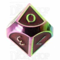 TDSO Metal Script Iridescent & Red D10 Dice