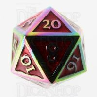 TDSO Metal Script Iridescent & Red D20 Dice