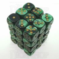 Chessex Gemini Black & Green 36 x D6 Dice Set