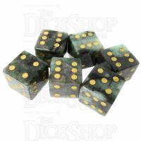 TDSO Emerald with Engraved Spots 16mm Precious Gem 6 x D6 Dice Set