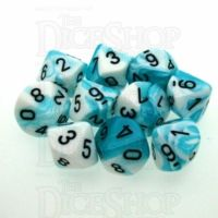 Chessex Gemini Teal & White 10 x D10 Dice Set