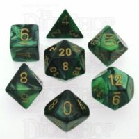 Chessex Gemini Black & Green 7 Dice Polyset