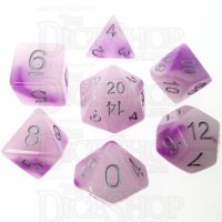 TDSO Duel Amethyst & White Glow in the Dark 7 Dice Polyset
