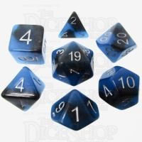 TDSO Duel Sapphire & Black Glow in the Dark 7 Dice Polyset