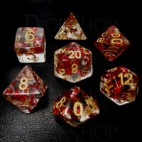 TDSO Confetti Butterfly Red & Gold 7 Dice Polyset