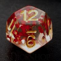 TDSO Confetti Butterfly Red & Gold D12 Dice