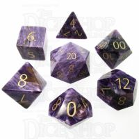 TDSO Charoite with Engraved Numbers 16mm Precious Gem 7 Dice Polyset