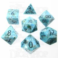 TDSO Turquoise Natural Stabilised with Engraved Numbers 16mm Precious Gem 7 Dice Polyset