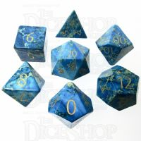 TDSO Imperial Stone Blue with Engraved Numbers 16mm Precious Gem 7 Dice Polyset