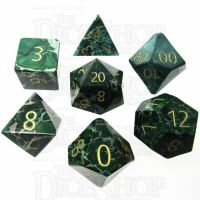 TDSO Imperial Stone Green with Engraved Numbers 16mm Precious Gem 7 Dice Polyset