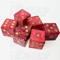 TDSO Imperial Stone Red with Engraved Numbers 16mm Precious Gem 6 x D6 Dice Set