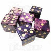 TDSO Imperial Stone Purple with Engraved Numbers 16mm Precious Gem 6 x D6 Dice Set