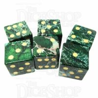 TDSO Imperial Stone Green with Engraved Numbers 16mm Precious Gem 6 x D6 Dice Set