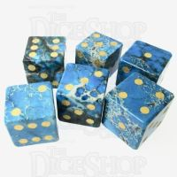 TDSO Imperial Stone Blue with Engraved Numbers 16mm Precious Gem 6 x D6 Dice Set