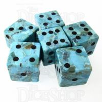 TDSO Turquoise Natural Stabilised with Engraved Numbers 16mm Precious Gem 6 x D6 Dice Set