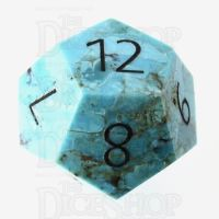 TDSO Turquoise Natural Stabilised with Engraved Numbers 16mm Precious Gem D12 Dice