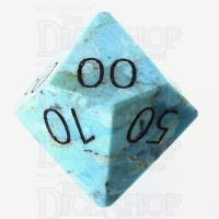 TDSO Turquoise Natural Stabilised with Engraved Numbers 16mm Precious Gem Percentile Dice