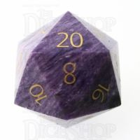 TDSO Charoite with Engraved Numbers 16mm Precious Gem D20 Dice