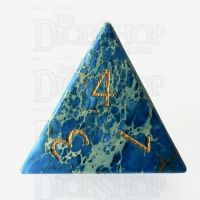TDSO Imperial Stone Blue with Engraved Numbers 16mm Precious Gem D4 Dice