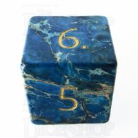 TDSO Imperial Stone Blue with Engraved Numbers 16mm Precious Gem D6 Dice