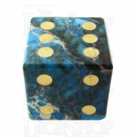 TDSO Imperial Stone Blue with Engraved Numbers 16mm Precious Gem D6 Spot Dice