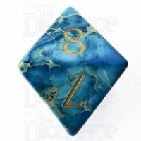 TDSO Imperial Stone Blue with Engraved Numbers 16mm Precious Gem D8 Dice