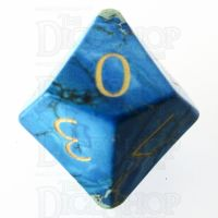 TDSO Imperial Stone Blue with Engraved Numbers 16mm Precious Gem D10 Dice