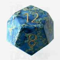 TDSO Imperial Stone Blue with Engraved Numbers 16mm Precious Gem D12 Dice