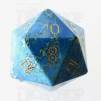 TDSO Imperial Stone Blue with Engraved Numbers 16mm Precious Gem D20 Dice