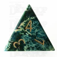 TDSO Imperial Stone Green with Engraved Numbers 16mm Precious Gem D4 Dice