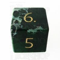 TDSO Imperial Stone Green with Engraved Numbers 16mm Precious Gem D6 Dice