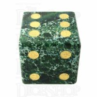 TDSO Imperial Stone Green with Engraved Numbers 16mm Precious Gem D6 Spot Dice