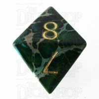 TDSO Imperial Stone Green with Engraved Numbers 16mm Precious Gem D8 Dice