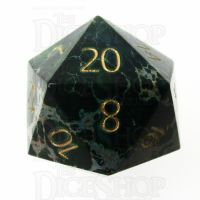 TDSO Imperial Stone Green with Engraved Numbers 16mm Precious Gem D20 Dice