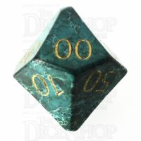 TDSO Imperial Stone Green with Engraved Numbers 16mm Precious Gem Percentile Dice
