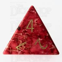 TDSO Imperial Stone Red with Engraved Numbers 16mm Precious Gem D4 Dice