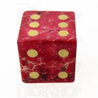 TDSO Imperial Stone Red with Engraved Numbers 16mm Precious Gem D6 Spot Dice