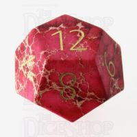 TDSO Imperial Stone Red with Engraved Numbers 16mm Precious Gem D12 Dice