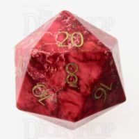 TDSO Imperial Stone Red with Engraved Numbers 16mm Precious Gem D20 Dice