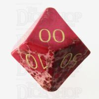 TDSO Imperial Stone Red with Engraved Numbers 16mm Precious Gem Percentile Dice
