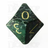 TDSO Imperial Stone Green with Engraved Numbers 16mm Precious Gem D10 Dice